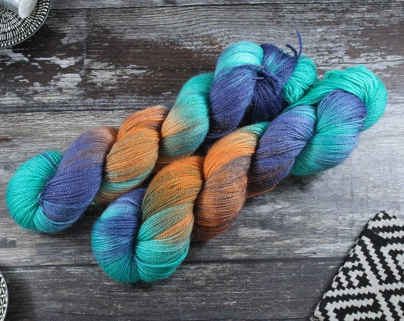 Hand Dyed Sparkle Sock Yarn - Kingfisher