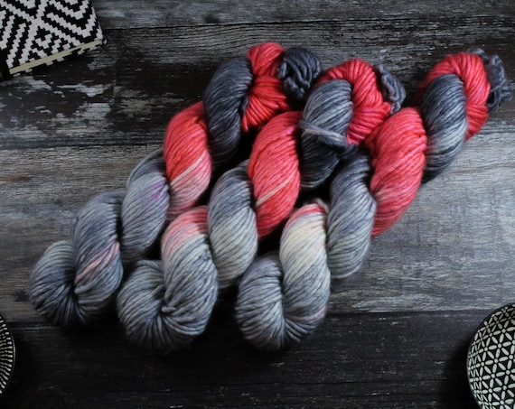 REDUCED Hand Dyed Chunky Yarn, Merino, Nylon - Coral Flash