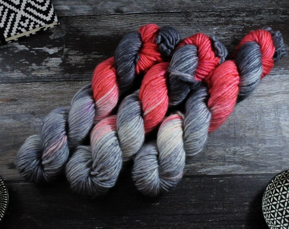 Hand Dyed Chunky Yarn, Merino, Nylon - Coral Flash