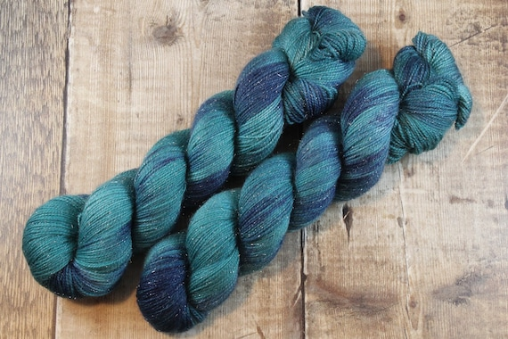 Hand Dyed Sparkle Sock Yarn - Wild Duck