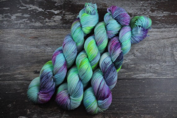 Hand Dyed Sparkle Sock Yarn - Electric Dreams