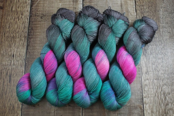 Hand Dyed Sock Yarn, 4ply, Plus Size Skein, 150g/600m, BFL and Silk - Slush Factory