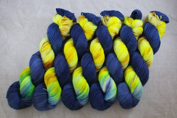 Hand Dyed Ultimate Sock Yarn, BFL High Twist, Micro Self Striping Yarn - Starry Skies