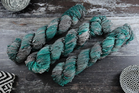 Hand Dyed Yarn, Slub Yarn, Merino, Nylon - Seaglass