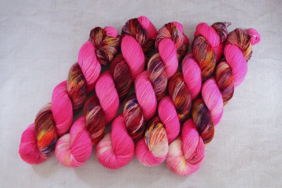 Hand Dyed Ultimate Sock Yarn, BFL High Twist, Micro Self Striping Yarn - What the Fork