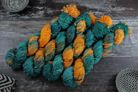 Hand Dyed Yarn, Slub Yarn, Merino, Nylon - Day-glow Kingfisher