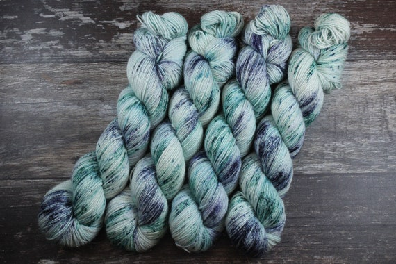 Hand Dyed Sparkle Sock Yarn - Nightwatch