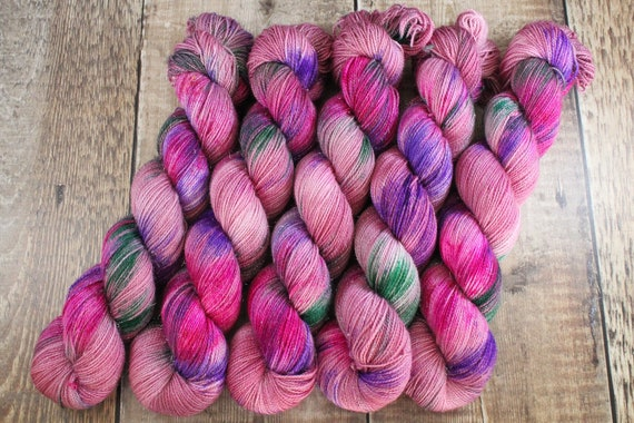Hand Dyed Sparkle Sock Yarn - Date Night For One, Megababes Collection