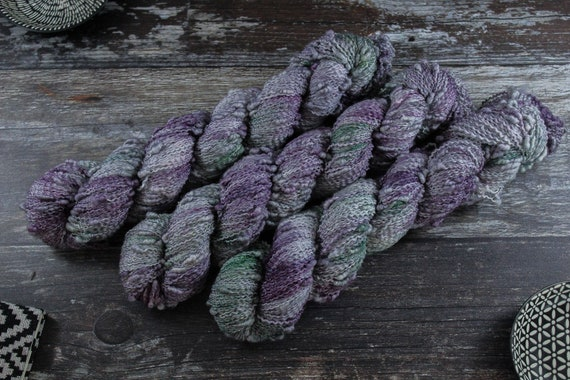 Hand Dyed Yarn, Slub Yarn, Merino, Nylon - Glass Beach