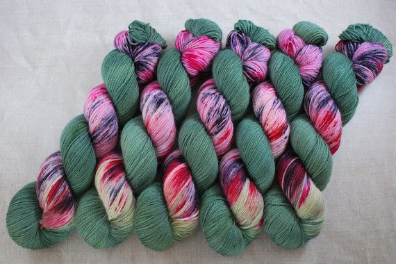 Hand Dyed Ultimate Sock Yarn, BFL High Twist, Micro Self Striping Yarn - Wild Witch