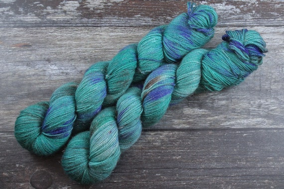 Hand Dyed Sparkle Sock Yarn - Peacock