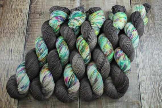 Hand Dyed Ultimate Sock Yarn, BFL High Twist, Micro Self Striping Yarn - Be Loud/Grey Stripe