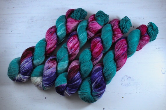 Hand Dyed Ultimate Sock Yarn, BFL High Twist, Micro Self Striping Yarn - Set phasers to stun