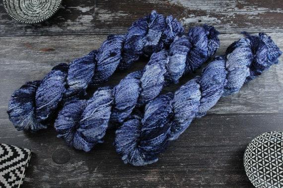 Hand Dyed Yarn, Slub Yarn, Merino, Nylon - Stormy Skies
