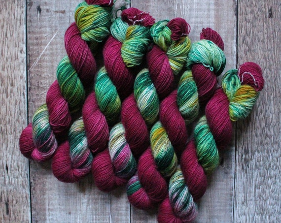 Hand Dyed Ultimate Sock Yarn, BFL High Twist, Micro Self Striping Yarn - Berry Forest