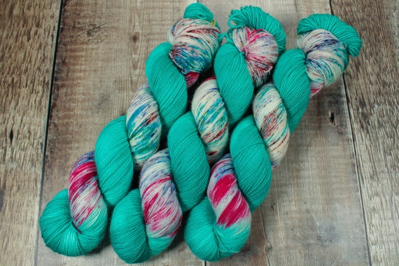 Hand Dyed Sock Yarn, SW Merino Nylon, Micro Self Striping Yarn - Arctic Mermaid