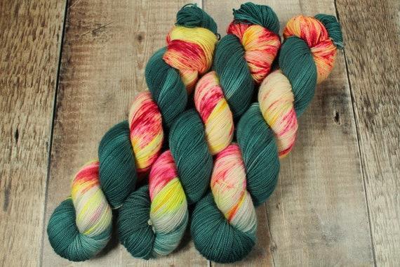 Hand Dyed Sock Yarn, SW Merino Nylon, Micro Self Striping Yarn - Mystical Mushroom