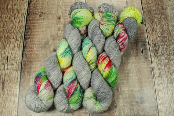 Hand Dyed Sock Yarn, SW Merino Nylon, Micro Self Striping Yarn - Fairy Lights