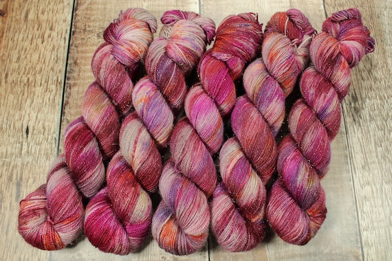 Hand Dyed Sparkle Sock Yarn - Glass Heart