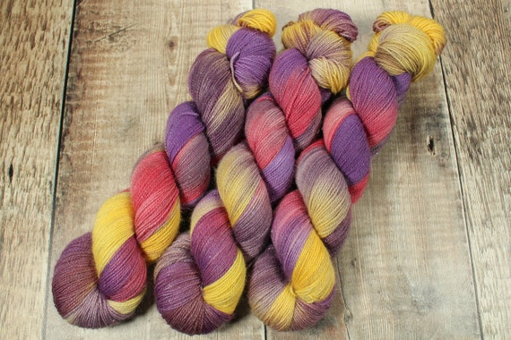 Hand Dyed Sparkle Sock Yarn - Be Super