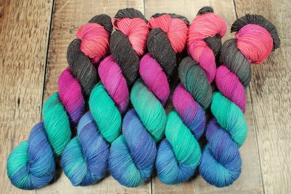 Hand Dyed Sparkle Sock Yarn - Digital Nights