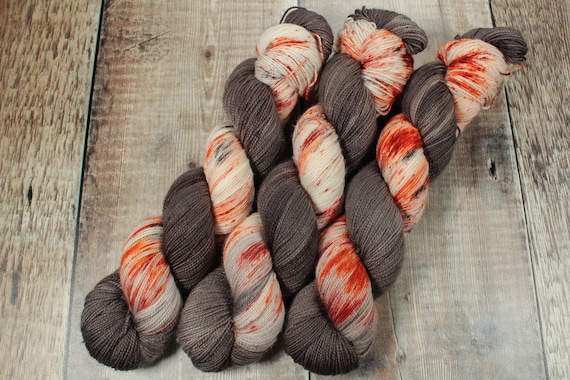 Hand Dyed Sock Yarn, SW Merino Nylon, Micro Self Striping Yarn - Rustbucket Stripe