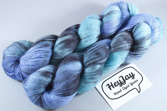 Hand Dyed Sock Yarn Merino, Alpaca, Nylon Blend - Thunderous
