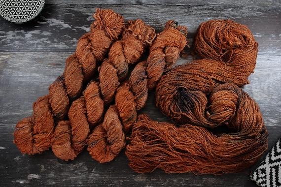 Hand Dyed Yarn, Slub Yarn, Merino, Nylon - Copper Rust