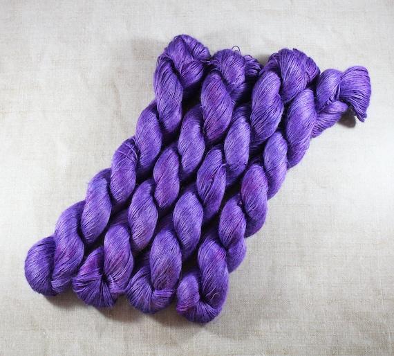 Hand Dyed Planty Yarn, Plant Yarn, Natural Fibres, Plant Based Yarn, 4ply Yarn, Fingering Weight Yarn - Ultraviolet