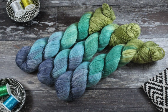 Hand Dyed Sparkle Sock Yarn - Glade