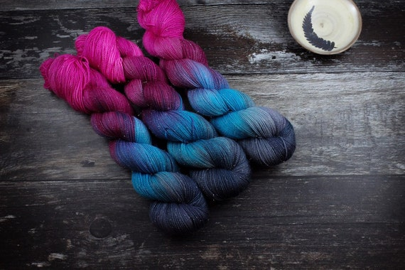 Hand Dyed Sparkle Sock Yarn - Slushie