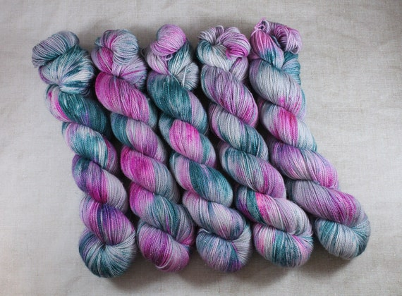 Hand Dyed Sparkle Sock Yarn - Sugar Sprinkle