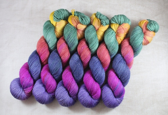 Hand Dyed Sparkle Sock Yarn - Pretty Birdie