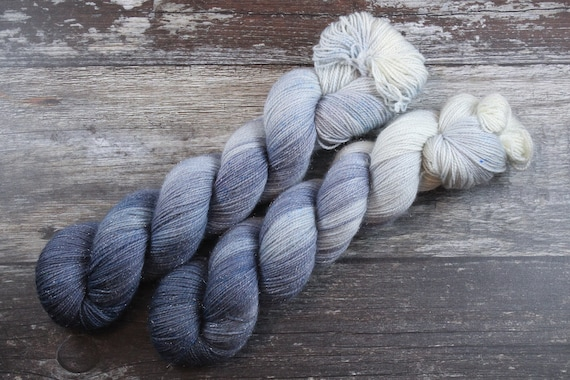 Hand Dyed Sparkle Sock Yarn - Charcoal
