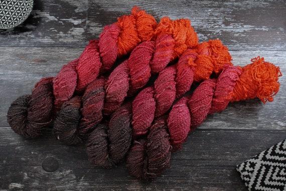 Hand Dyed Yarn, Slub Yarn, Merino, Nylon - Volcanic