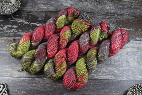 Hand Dyed Chunky Yarn, Merino, Nylon - Raphael