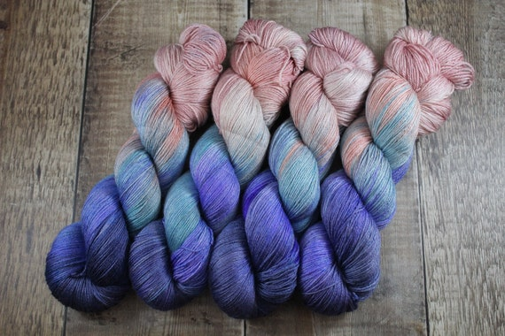 Hand Dyed Sock Yarn, 4ply, Plus Size Skein, 150g/600m, BFL and Silk - Moon Landing