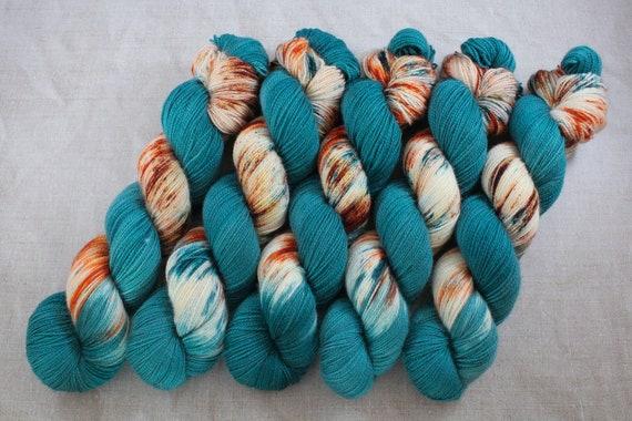 Hand Dyed Ultimate Sock Yarn, BFL High Twist, Micro Self Striping Yarn - Lost at Sea