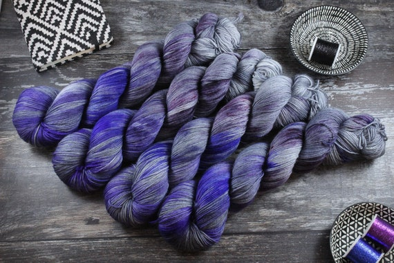 Hand Dyed Sock Yarn Superwash Merino/Nylon - Please Don't Rain