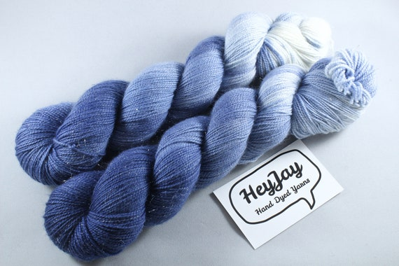 Hand Dyed Sparkle Merino Sock Yarn - Sea Foam