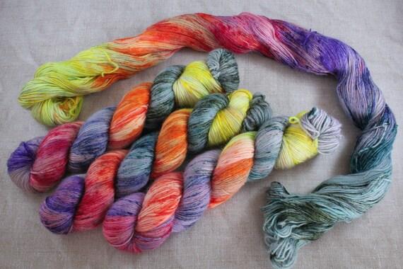 Hand Dyed Alpaca/Merino/Nylon Sock Yarn - Punky Rainbow