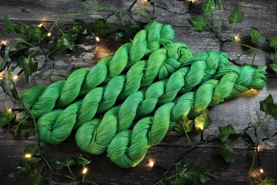 REDUCED Hand Dyed Planty Yarn, Vegan Yarn, Plant Yarn, Natural Fibres, Plant Based Yarn, 4ply Yarn, Fingering Weight Yarn - Lilypad