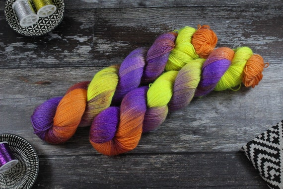 Hand Dyed Sparkle Sock Yarn - Clownin Around