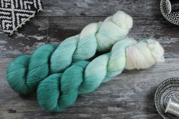 Hand Dyed Lace Merino Yarn - Teal Ombre