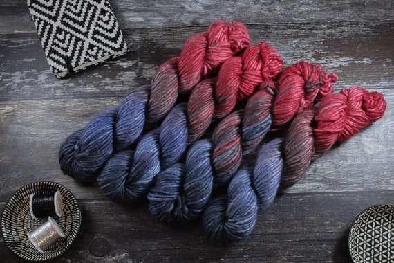 REDUCED Hand Dyed Chunky Yarn, Merino, Nylon - Castles Made of Sand