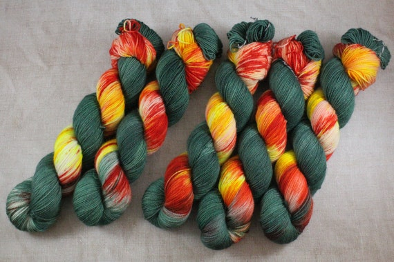 Hand Dyed Ultimate Sock Yarn, BFL High Twist, Micro Self Striping Yarn - Tiger Tiger