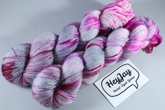 Hand Dyed Sparkle Sock Yarn - Stained Steel