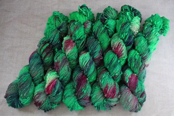 Hand Dyed Yarn, Slub Yarn, Merino, Nylon - Poison Shrubbery