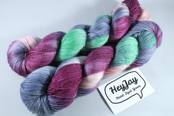 Hand Dyed Sparkle Sock Yarn - Heathcliff