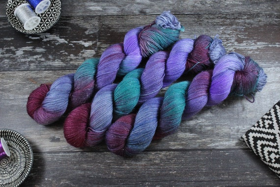 Hand Dyed Sparkle Sock Yarn - Kracken